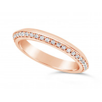 18ct Rose Gold 3mm V Shaped Wedding Ring, Set With 33 Round Diamonds. Pave Set One Side 3/4 Of The Way Around The Ring, With A Mirror Finish On The opposite Side. Total Diamond Weight 0.33ct