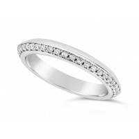 Platinum 3mm V Shaped Wedding Ring, Set With 33 Round Diamonds. Pave Set One Side 3/4 Of The Way Around The Ring, With A Mirror Finish On The opposite Side. Total Diamond Weight 0.33ct
