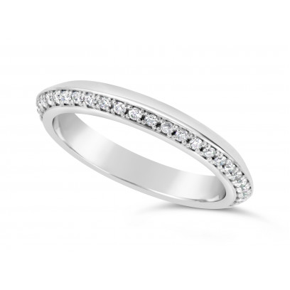 18ct White Gold 3mm V Shaped Wedding Ring, Set With 33 Round Diamonds. Pave Set One Side 3/4 Of The Way Around The Ring, With A Mirror Finish On The opposite Side. Total Diamond Weight 0.33ct