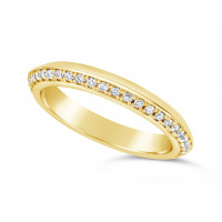 18ct Yellow Gold 3mm V Shaped Wedding Ring, Set With 33 Round Diamonds. Pave Set One Side 3/4 Of The Way Around The Ring, With A Mirror Finish On The opposite Side. Total Diamond Weight 0.33ct