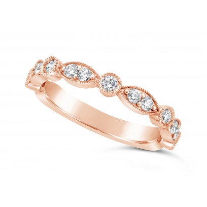 18ct Rose Gold Marquise Effect & Round Diamond Wedding Band, Set With 17 Diamonds, Total Diamond Weight 0.45ct Of Round Diamonds Set 3/4 Of The Way Around The Band