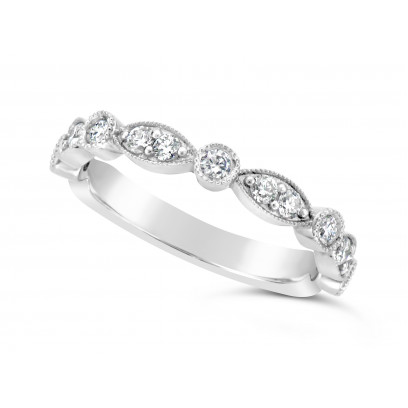 18ct White Gold Marquise Effect & Round Diamond Wedding Band, Set With 17 Diamonds, Total Diamond Weight 0.45ct Of Round Diamonds Set 3/4 Of The Way Around The Band