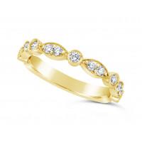 18ct Yellow Gold Marquise Effect & Round Diamond Wedding Band, Set With 17 Diamonds, Total Diamond Weight 0.45ct Of Round Diamonds Set 3/4 Of The Way Around The Band