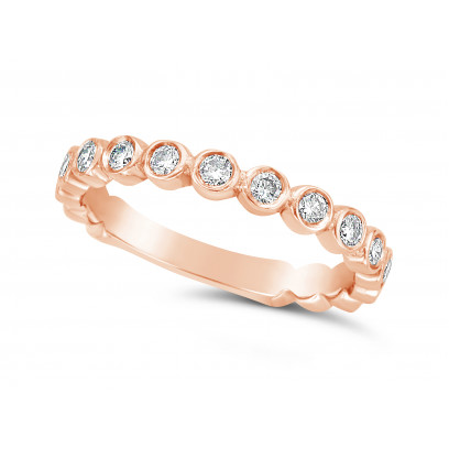 18ct Rose Gold Round Individual Rubover Set Diamond Wedding Ring Set With 17 Diamonds, Total Diamond Weight 0.51ct, Set 3/4 Of The Way Around The Band, Width 2.7mm