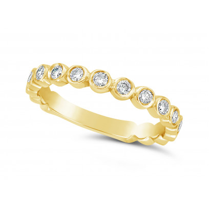 18ct Yellow Gold Round Individual Rubover Set Diamond Wedding Ring Set With 17 Diamonds, Total Diamond Weight 0.51ct, Set 3/4 Of The Way Around The Band, Width 2.7mm