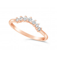 18ct Rose Gold 7 Stone Claw Set Wedding Band, Which Fits Around Most Solitaires. Total Diamond Weight 0.18ct, Head = 2.6mm wide, Band = 1.5mm Wide
