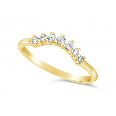 18ct Yellow Gold 7 Stone Claw Set Wedding Band, Which Fits Around Most Solitaires. Total Diamond Weight 0.18ct, Head = 2.6mm wide, Band = 1.5mm Wide