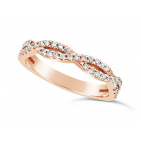 18ct Rose Gold 2 Row Weave Pave Set Wedding Band Set With 41 Round Diamonds. Total Diamond Weight 0.61ct, 3.2mm Wide