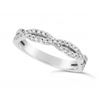 18ct White Gold 2 Row Weave Pave Set Wedding Band Set With 41 Round Diamonds. Total Diamond Weight 0.61ct, 3.2mm Wide