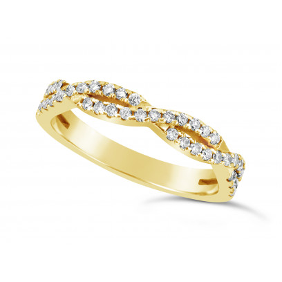 18ct Yellow Gold 2 Row Weave Pave Set Wedding Band Set With 41 Round Diamonds. Total Diamond Weight 0.61ct, 3.2mm Wide