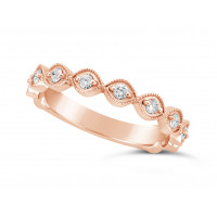 18ct Rose Gold Marquise Shape Ladies Diamond Set Wedding Band, Set With 11 Round Brilliant Cut Diamonds 3/4 Of The Way Around The Band, Total Diamond Weight 0.22ct, 3.2mm Wide