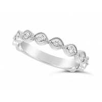 Platinum Marquise Shape Ladies Diamond Set Wedding Band, Set With 11 Round Brilliant Cut Diamonds 3/4 Of The Way Around The Band, Total Diamond Weight 0.22ct, 3.2mm Wide