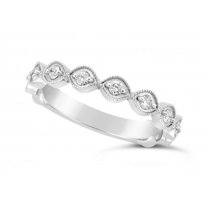 18ct White Gold Marquise Shape Ladies Diamond Set Wedding Band, Set With 11 Round Brilliant Cut Diamonds 3/4 Of The Way Around The Band, Total Diamond Weight 0.22ct, 3.2mm Wide