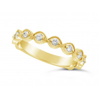 18ct Yellow Gold Marquise Shape Ladies Diamond Set Wedding Band, Set With 11 Round Brilliant Cut Diamonds 3/4 Of The Way Around The Band, Total Diamond Weight 0.22ct, 3.2mm Wide