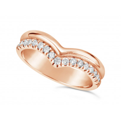 18ct Rose Gold 2 Row Wishbone Shaped Wedding Band To Sit Around A Solitaire Engagement Ring, With One Plain Band & One Pave Set Diamond Band. Width Of Band 4.2mm, Set With 17 Round Diamonds. Total Diamond Weight 0.34ct