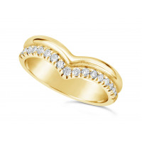 18ct Yellow Gold 2 Row Wishbone Shaped Wedding Band To Sit Around A Solitaire Engagement Ring, With One Plain Band & One Pave Set Diamond Band. Width Of Band 4.2mm, Set With 17 Round Diamonds. Total Diamond Weight 0.34ct