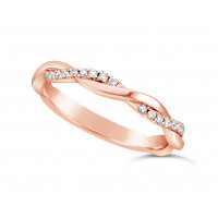 18ct Rose Gold Ladies 2.5mm Woven Wedding Band Set With 26 Round Diamonds Set 3/4 Of The Way Around The Band. Total Diamond Weight 0.26ct