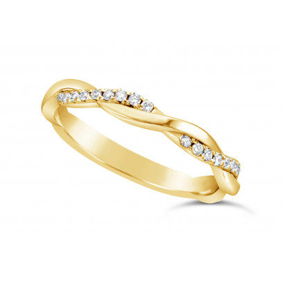 18ct Yellow Gold Ladies 2.5mm Woven Wedding Band Set With 26 Round Diamonds Set 3/4 Of The Way Around The Band. Total Diamond Weight 0.26ct