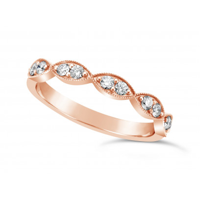 18ct Rose Gold Marquise Shape Diamond Wedding Band Set With 10 Round Brilliant Cut Diamonds, 2.9mm Wide. Total Diamond Weight 0.25ct