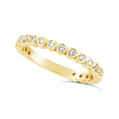 18ct Yellow Gold 2.45mm Wide Wedding Band, Set With 21 Round Brilliant Cut Diamonds In Rubover Setting 3/4 Of The Way Around The Band. Total Diamond Weight 0.30ct