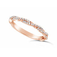 18ct Rose Gold 2.2mm Wide Full Diamond Set Weave Pattern, Set With 63 Round Diamonds 2/3 Of The Way Around. Total Diamond Weight 0.31ct