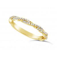18ct Yelllow Gold 2.2mm Wide Full Diamond Set Weave Pattern, Set With 63 Round Diamonds 2/3 Of The Way Around. Total Diamond Weight 0.31ct