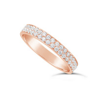 18ct Rose Gold 3.5mm 2 Row Diamond Set Wedding Band,