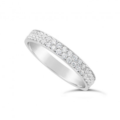 18ct White Gold 18ct White Gold 3.5mm 2 Row Diamond Set Wedding Band, Set With 42 Pave Set Round Brilliant Cut Diamonds, Total Diamond Weight 0.85ct3.5mm 2 Row Diamond Set Wedding Band,