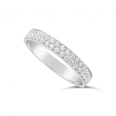 Platinum 3.5mm 2 Row Diamond Set Wedding Band,