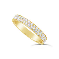 18ct Yellow Gold 3.5mm 2 Row Diamond Set Wedding Band,