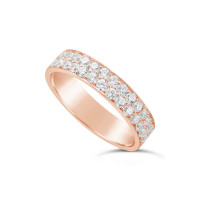 18ct Rose Gold 4.7mm 2 Row Diamond Set Wedding Band, Set With 28 Pave Set Round Brilliant Cut Diamonds, Total Diamond Weight 0.85ct