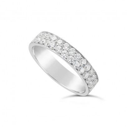 18ct White Gold 4.7mm 2 Row Diamond Set Wedding Band, Set With 28 Pave Set Round Brilliant Cut Diamonds, Total Diamond Weight 0.85ct