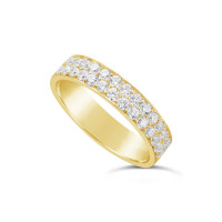 18ct Yellow Gold 4.7mm 2 Row Diamond Set Wedding Band, Set With 28 Pave Set Round Brilliant Cut Diamonds, Total Diamond Weight 0.85ct