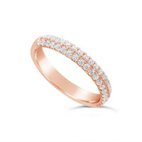 18ct Rose Gold 3.4mm 2 Row Diamond Set Wedding Band, Set With 40 Undercut Set Round Brilliant Cut Diamonds, Total Diamond Weight 0.58ct
