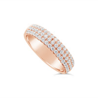 18ct Rose Gold 4.7mm 3 Row Diamond Set Wedding Band, Set With 57 Round Brilliant Cut Diamonds, Total Diamond Weight 0.75ct