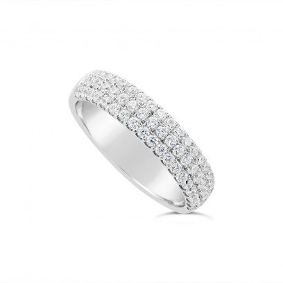 18ct White Gold 4.7mm 3 Row Diamond Set Wedding Band, Set With 57 Round Brilliant Cut Diamonds, Total Diamond Weight 0.75ct