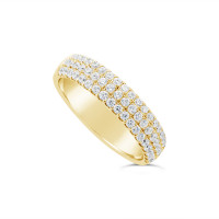 18ct Yellow Gold 4.7mm 3 Row Diamond Set Wedding Band, Set With 57 Round Brilliant Cut Diamonds, Total Diamond Weight 0.75ct
