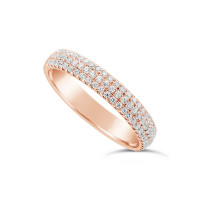 18ct Rose Gold 3.7mm Wide 3 Row Diamond Set Wedding Band, Set With 84 Round Brilliant Cut Diamonds, Total Diamond Weight 0.45ct