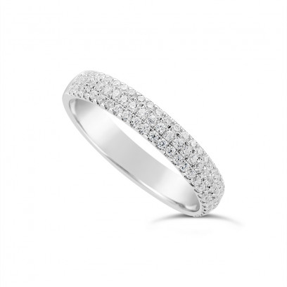 18ct White Gold 3.7mm Wide 3 Row Diamond Set Wedding Band, Set With 84 Round Brilliant Cut Diamonds, Total Diamond Weight 0.45ct