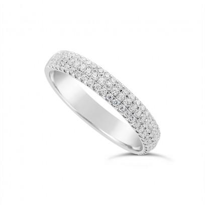 18ct White Gold 3.7mm Wide 3 Row Diamond Set Wedding Band, Set With 84 Round Brilliant Cut Diamonds, Total Diamond Weight 0.45ct