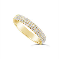 18ct Yellow Gold 3.7mm Wide 3 Row Diamond Set Wedding Band, Set With 84 Round Brilliant Cut Diamonds, Total Diamond Weight 0.45ct