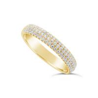 18ct Yellow Gold 3.7mm Wide 3 Row Diamond Set Wedding Band, Set With 84 Round Brilliant Cut Diamonds, Total Diamond Weight 0.45ct