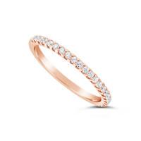 18ct Rose Gold 1.75mm Wide Diamond Set Wedding Band, Set With 22 Round Brilliant Cut Diamonds, Total Diamond Weight 0.25ct