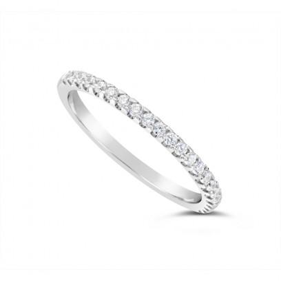 18ct White Gold 1.75mm Wide Diamond Set Wedding Band, Set With 22 Round Brilliant Cut Diamonds, Total Diamond Weight 0.25ct