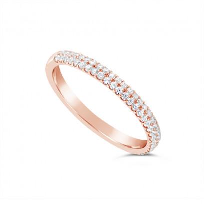 18ct Rose Gold 2.4mm Wide 2 Row Diamond Set Wedding Band, Set With 56 Round Brilliant Cut Diamonds, Total Diamond Weight 0.30ct