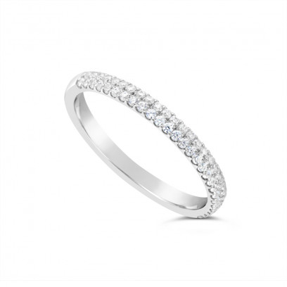 18ct White Gold 2.4mm Wide 2 Row Diamond Set Wedding Band, Set With 56 Round Brilliant Cut Diamonds, Total Diamond Weight 0.30ct