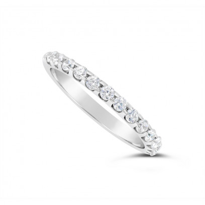 18ct White Gold 2mm Wide Diamond Set Wedding Band, Set With 13 Round Brilliant Cut Diamonds, Total Diamond Weight 0.35ct