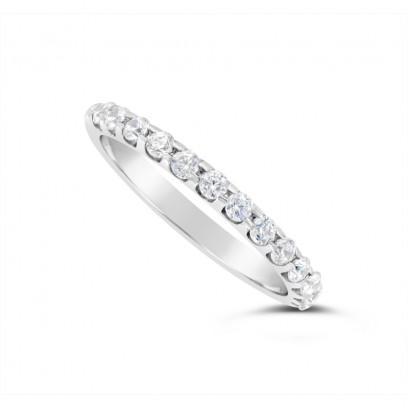 18ct White Gold 2mm Wide Diamond Set Wedding Band, Set With 13 Round Brilliant Cut Diamonds, Total Diamond Weight 0.35ct