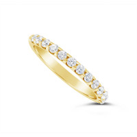 18ct Yellow Gold 2mm Wide Diamond Set Wedding Band, Set With 13 Round Brilliant Cut Diamonds, Total Diamond Weight 0.35ct