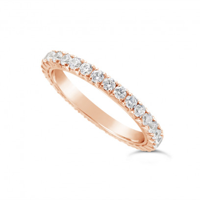 18ct Rose Gold 2mm Wide Fishtail Diamond Set Wedding Band, Set With 31 Round Brilliant Cut Diamonds All The Way Round In A 4 Prong Fishtail Setting , Total Diamond Weight 1.0ct